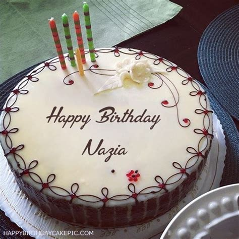 Candles Decorated Happy Birthday Cake For Nazia