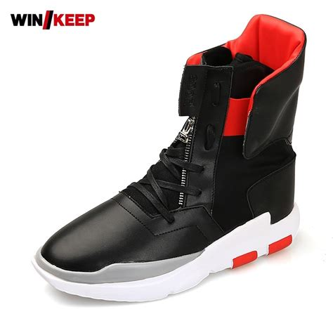 Mens Gym Sport High Top Sneakers Pu Leather Punk