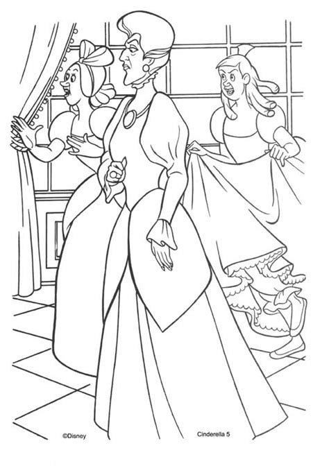 Stepmother and stepsister of cinderella coloring pages
