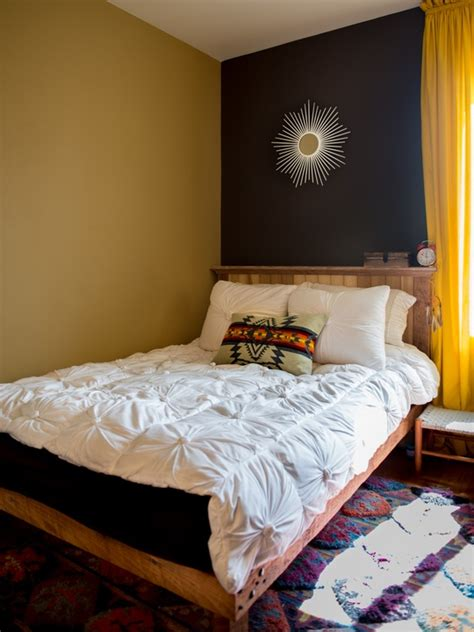 Bedroom Solution: Navy & Mustard; bed against the wall