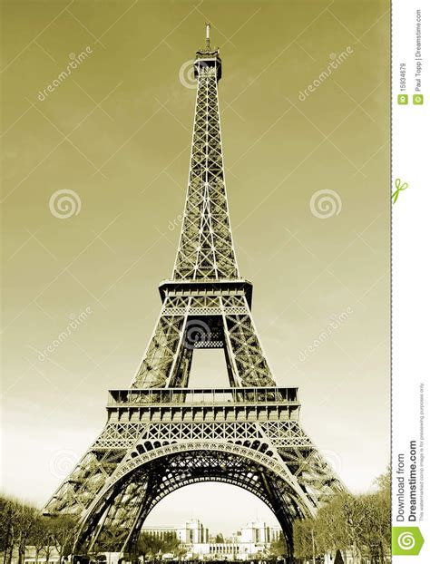 Paris Eiffel Tower In France Sepia Tone Royalty Free Stock