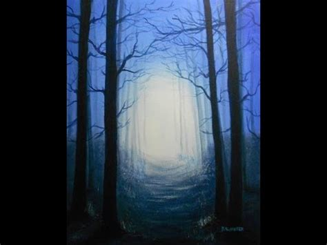 How To Paint A Twilight Forest Scene - Painting Lessons by