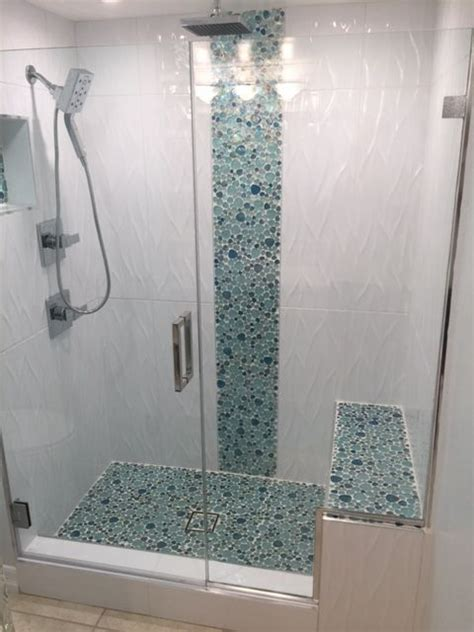 Beautiful 3 dimensional large format tile with glass