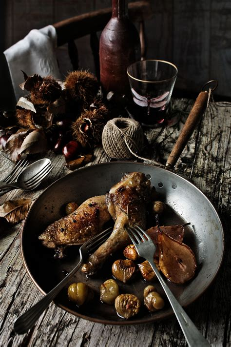 Chicken thighs with pears, chestnuts and port recipe : SBS